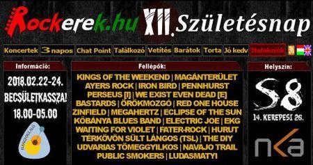 XII. Rockerek.hu Születésnap - S8 Underground Club (2017.02.22-24.)